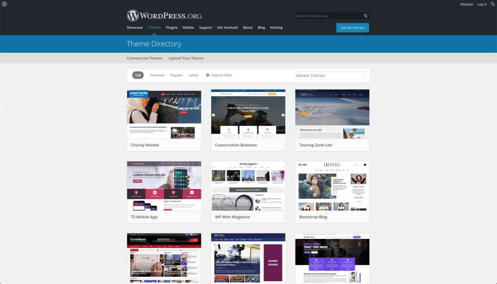 Searching for WordPress review themes on the official WP repository