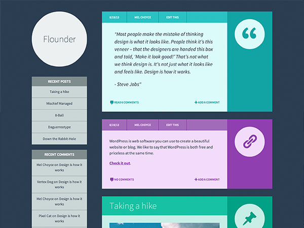 Example of a flat design WordPress theme