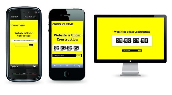 Yellow Underconstruction WordPress Mobile Theme