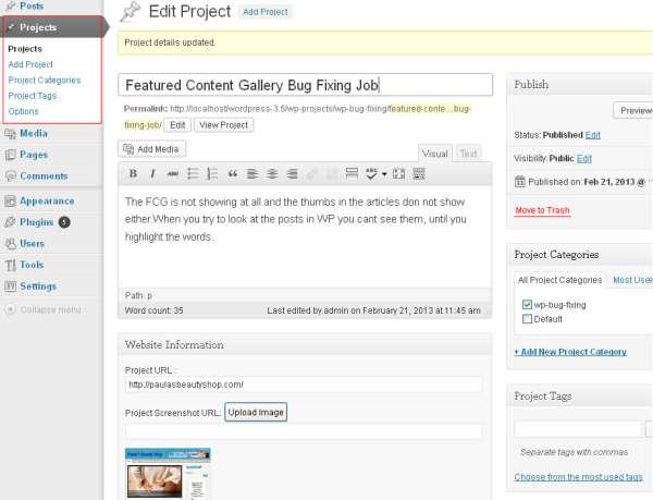 WP Projects Portfolio With Customer Testimonials