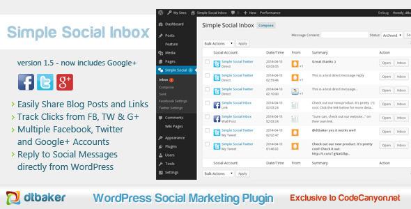 Simple Social Inbox Facebook, Twitter, Google