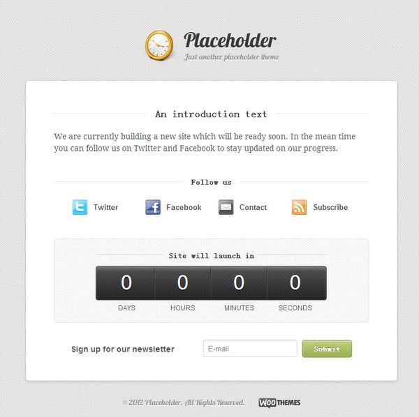 Placeholder Under Construction WordPress Theme