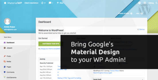 Information Wp Material Design Dashboard Theme